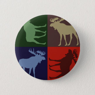 Colorful rustic moose four square design 6 cm round badge