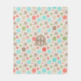 Colorful Rustic Snowflake Pattern Monogram Fleece Blanket