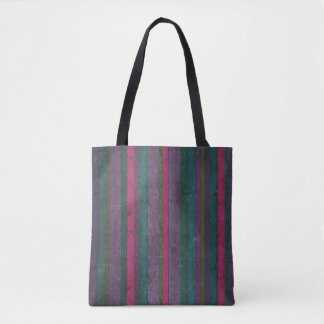 Colorful Rustic Wood Look Pink Teal Purple Bold Tote Bag
