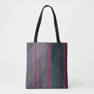 Colorful Rustic Wood Look Pink Teal Purple Bold Tote Bag