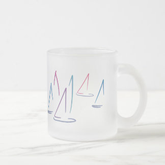 Colorful Sailboats Frosted Mug