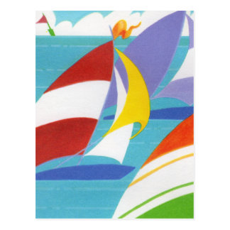 Colorful Sailboats Post Card