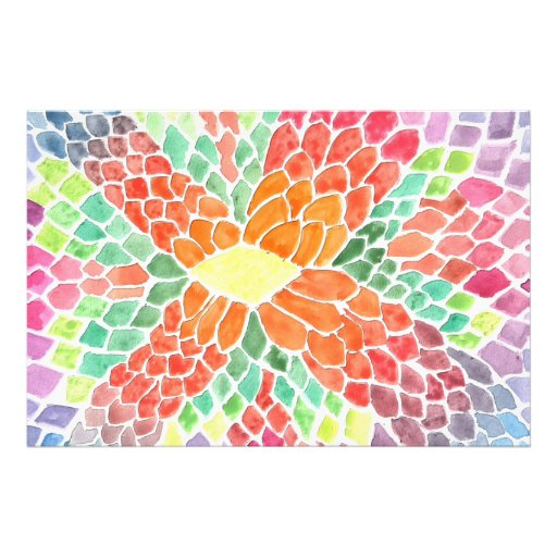 Colorful Scales - vivid abstract watercolor design Art Photo