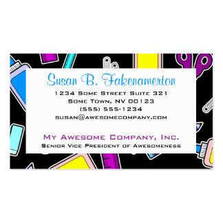 Colorful School Supplies on Black Business Cards