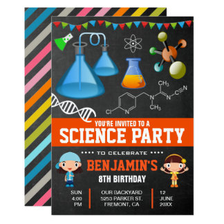 Colorful Science Kids Birthday Party Invitation