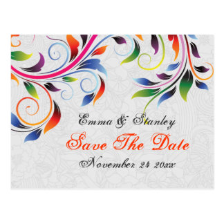 Colorful scroll leaf grey wedding Save the Date Postcard