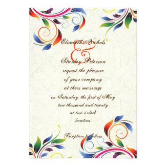 Colorful scroll leaf on ecru wedding invitation personalized invitation