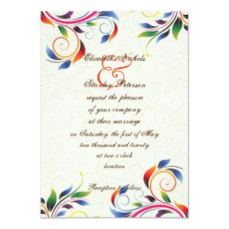 Colorful scroll leaf on ecru wedding invitation