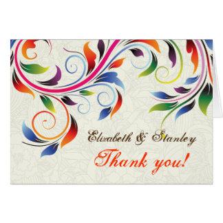 Colorful scroll leaf on ecru wedding Thank You Card