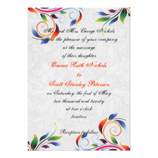 Colorful scroll leaf on grey wedding invitation personalized announcements