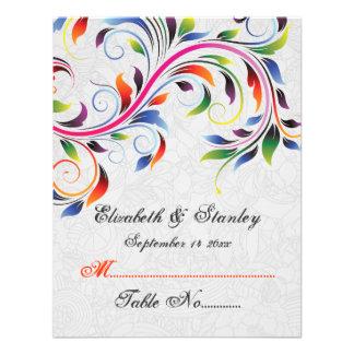 Colorful scroll leaf on grey wedding place card invitations