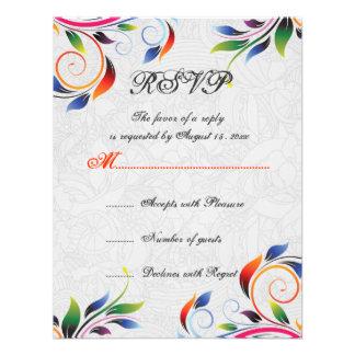 Colorful scroll leaf on grey wedding RSVP card Custom Invitation