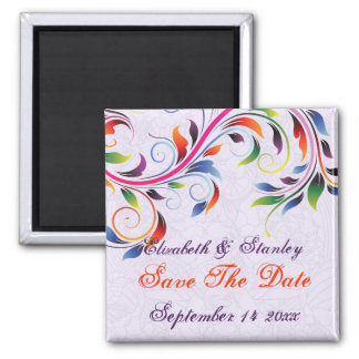 Colorful scroll leaf purple wedding Save the Date Magnets