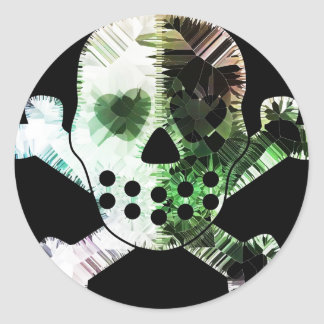 Colorful Scull on black background Round Stickers