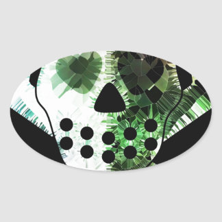 Colorful Scull on black background Oval Sticker