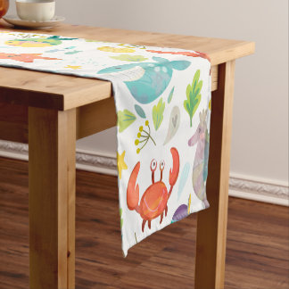Colorful Sea Animals Short Table Runner