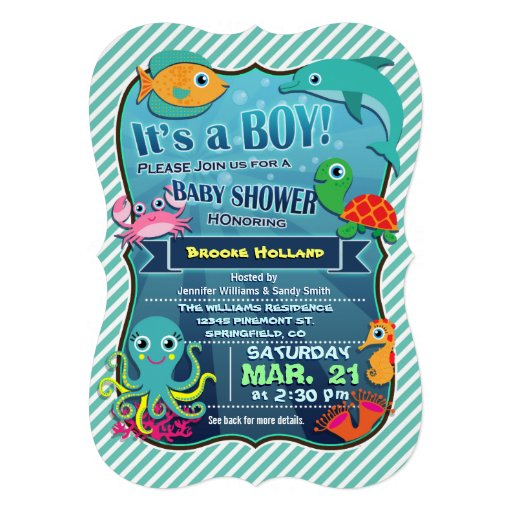 Colorful Sea Creatures; Boy Baby Shower Invitation
