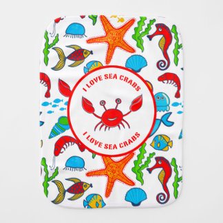 Colorful Sea Creatures Pattern Featuring Sea Crab Burp Cloth