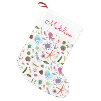 Colorful Sea Life | Add Your Name Small Christmas Stocking