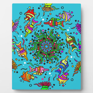 colorful sea life  art design plaque