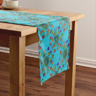 colorful sea life  art design short table runner
