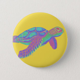 Colorful Sea Turtle with Yellow Background 6 Cm Round Badge