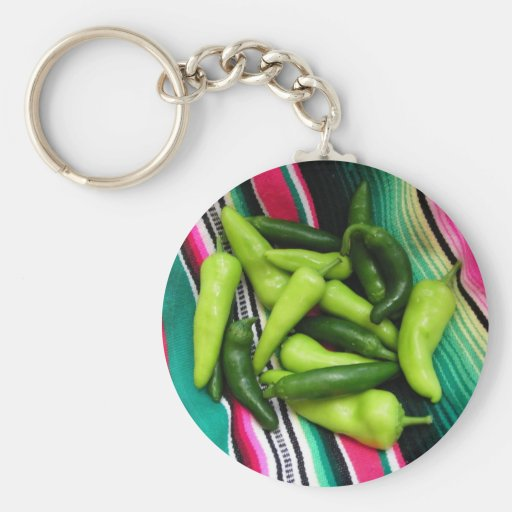 Colorful Serape Stripes and Chile Keychain