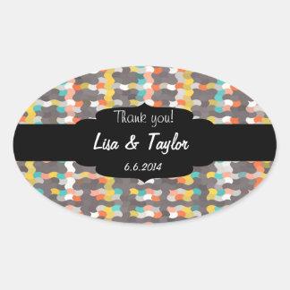 Colorful shapes pattern oval sticker