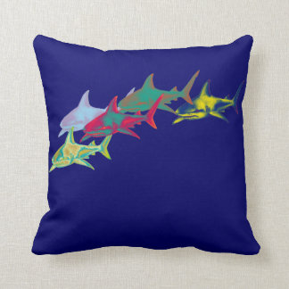 colorful sharks on blue cushion