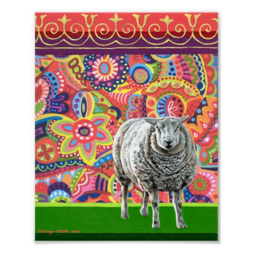 Colorful Sheep Art Print or Poster