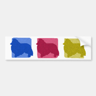 Colorful Sheltie Silhouettes Bumper Sticker