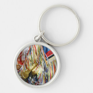 Colorful shimmer fringe close up Silver-Colored round key ring