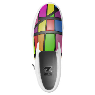Colorful shiny tiles slip on shoes