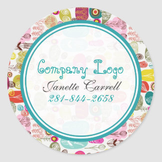Colorful Simple Hand Drawn Retro Flowers Pattern 2 Round Sticker