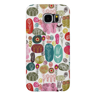 Colorful Simple Hand Drawn Retro Flowers Pattern 4 Samsung Galaxy S6 Cases