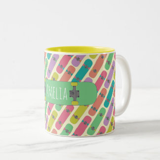 Colorful Skateboard Pattern Two-Tone Coffee Mug