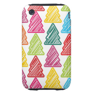 Colorful Sketchy Christmas Trees 3G 3GS Case-Mate Tough iPhone 3 Covers