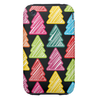 Colorful Sketchy Christmas Trees 3G 3GS Case-Mate iPhone 3 Tough Case