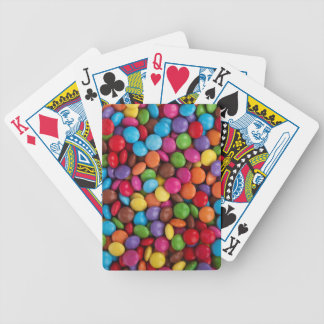 Colorful skittles candy bicycle playing cards