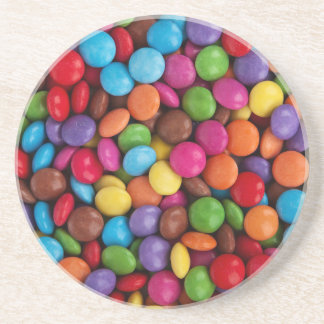 Colorful skittles candy coaster
