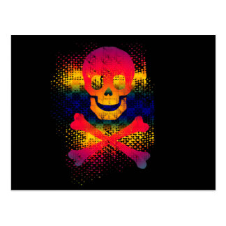 colorful skull and crossbones postcards
