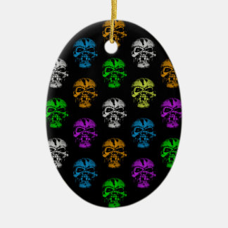 Colorful Skulls Pattern Christmas Ornament