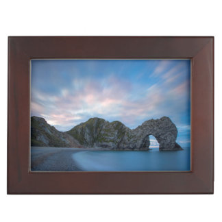 Colorful sky at dawn over Durdle Door Keepsake Box