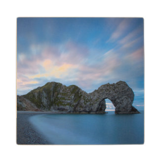 Colorful sky at dawn over Durdle Door Wood Coaster