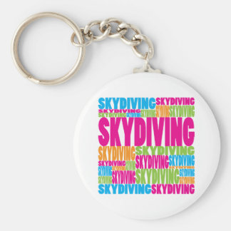 Colorful Skydiving Basic Round Button Key Ring