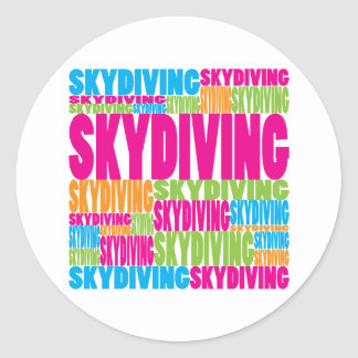 Colorful Skydiving Round Stickers