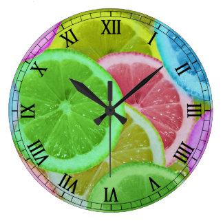 colorful slices of lemon and orange wall clocks
