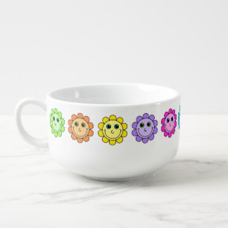 Colorful Smiley Face Flowers Soup Mug