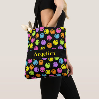 Colorful Smiley Faces Add Name Tote Bag