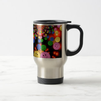Colorful Smiley Faces Jamboree Travel Mug